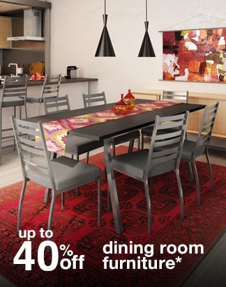 Up to 40% off dining room furniture*